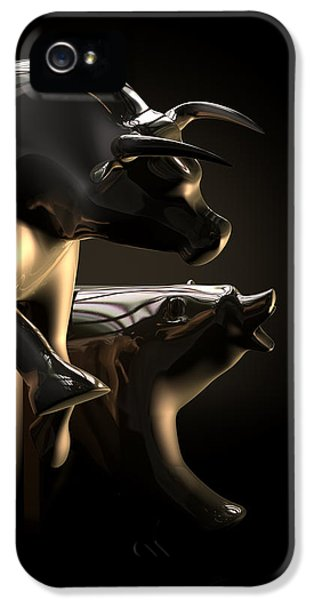 Challenge iPhone 5 Cases - Bull And Bear Stock Market Statues iPhone 5 Case by Allan Swart