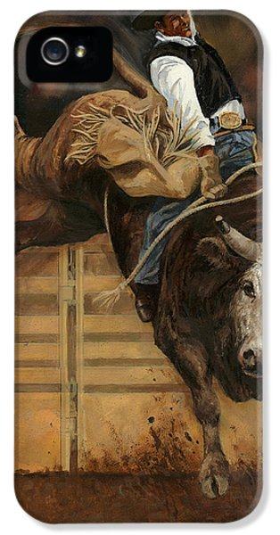 Bulls iPhone 5 Cases - Bull Riding 1 iPhone 5 Case by Don  Langeneckert