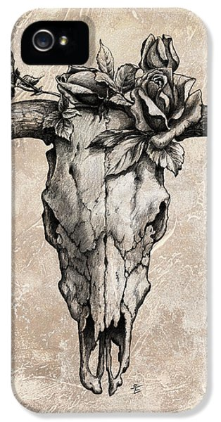 Bulls iPhone 5 Cases - Bull Skull and Rose iPhone 5 Case by Emerico Imre Toth
