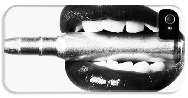 Ammunition iPhone 5 Cases - Bullet Lips BW iPhone 5 Case by Erik Brede