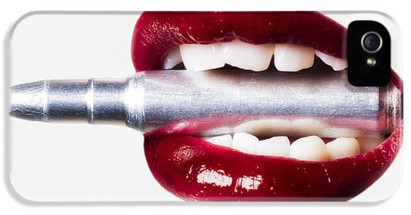 Ammunition iPhone 5 Cases - Bullet Lips Red edition iPhone 5 Case by Erik Brede