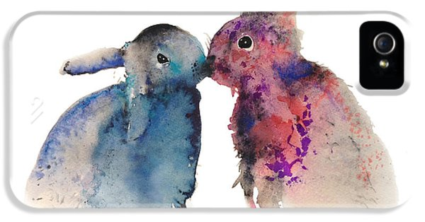 Washed iPhone 5 Cases - Bunnies in love iPhone 5 Case by Kristina Broza