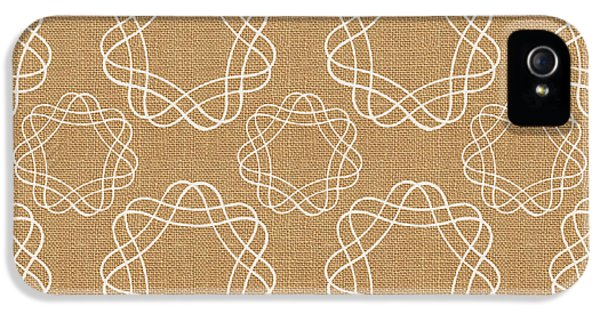 Burlap And White Geometric Flowers IPhone 5 / 5s Case by Linda Woods