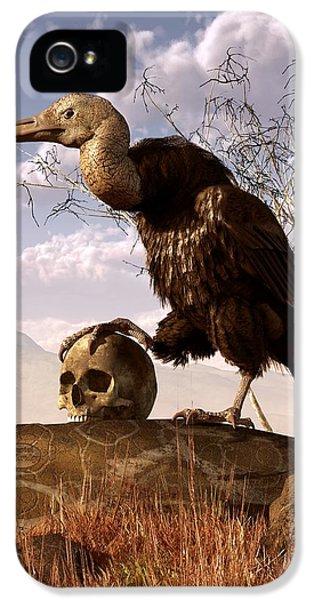 Bird Watcher iPhone 5 Cases - Buzzard with a Skull iPhone 5 Case by Daniel Eskridge