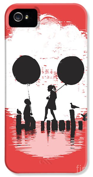 Balloon iPhone 5 Cases - Bye Bye Apocalypse red iPhone 5 Case by Budi Satria Kwan