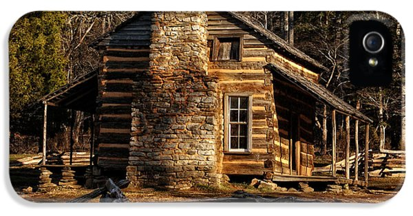 Oliver Stone iPhone 5 Cases - Cades Cove Olivers Cabin iPhone 5 Case by Greg and Chrystal Mimbs