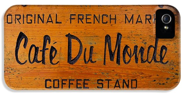 Historical iPhone 5 Cases - Cafe Du Monde Sign in New Orleans Louisiana iPhone 5 Case by Paul Velgos