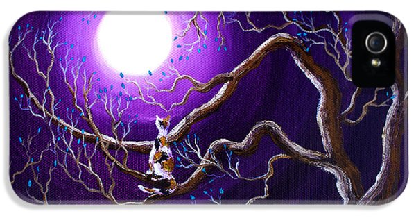 Spooky iPhone 5 Cases - Calico Cat in Haunted Tree iPhone 5 Case by Laura Iverson