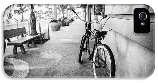 Main Street iPhone 5 Cases - California Beach Cruiser Bike Black and White Photo iPhone 5 Case by Paul Velgos