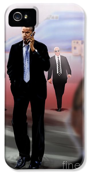 President Barack Obama iPhone 5 Cases - Calling In Hit Markers-Smooth Operator 1 iPhone 5 Case by Reggie Duffie