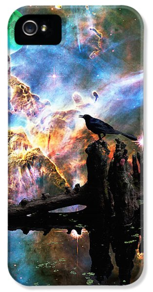 Dreamscape iPhone 5 Cases - Calling The Night - Crow Art By Sharon Cummings iPhone 5 Case by Sharon Cummings