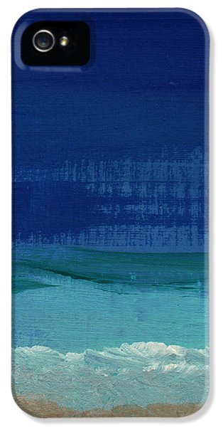 Abstracts iPhone 5 Cases - Calm Waters- Abstract Landscape Painting iPhone 5 Case by Linda Woods