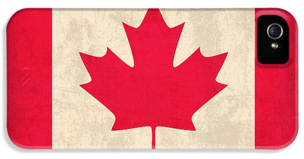 Canada iPhone 5 Cases - Canada Flag Vintage Distressed Finish iPhone 5 Case by Design Turnpike