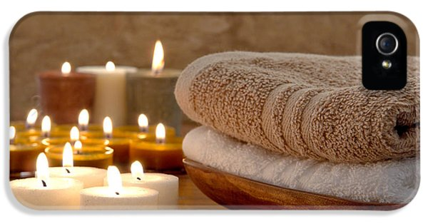 Glowing iPhone 5 Cases - Candles and Towels in a Spa iPhone 5 Case by Olivier Le Queinec
