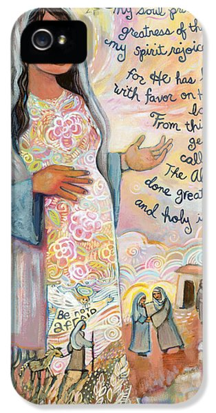 Holy Spirit iPhone 5 Cases - Canticle of Mary iPhone 5 Case by Jen Norton