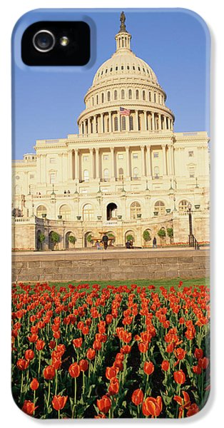 Capitol Building With Bed Of Tulips IPhone 5 / 5s Case by Panoramic Images