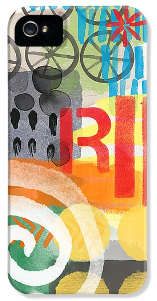 Graffiti iPhone 5 Cases - Carousel #6 RIDE- Contemporary Abstract Art iPhone 5 Case by Linda Woods