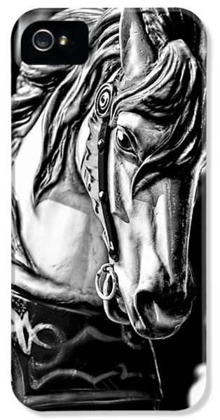 Christopher Holmes Photography iPhone 5 Cases - Carousel Horse Two - BW iPhone 5 Case by Christopher Holmes