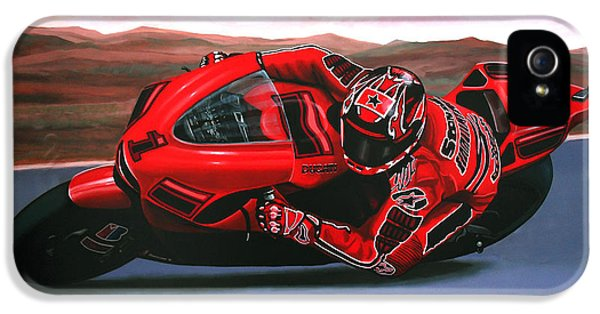 Circuit iPhone 5 Cases - Casey Stoner on Ducati iPhone 5 Case by Paul  Meijering