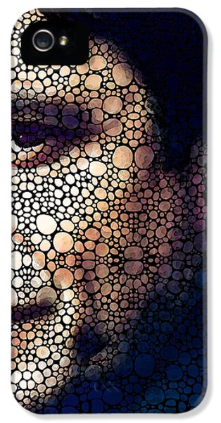 Men In Black iPhone 5 Cases - Cash Tribute - Stone Rockd Art By Sharon Cummings iPhone 5 Case by Sharon Cummings