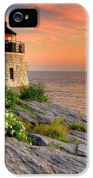 Lighthouse iPhone 5 Cases - Castle Hill Lighthouse-Rhode Island iPhone 5 Case by Thomas Schoeller