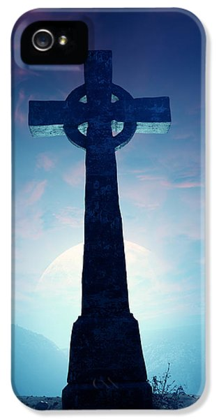 Desolate iPhone 5 Cases - Celtic Cross with moon iPhone 5 Case by Johan Swanepoel