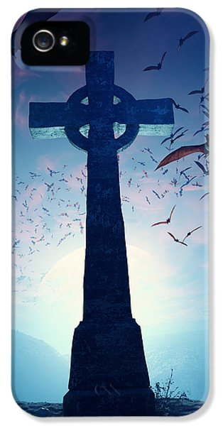 Memorial iPhone 5 Cases - Celtic Cross with swarm of bats iPhone 5 Case by Johan Swanepoel