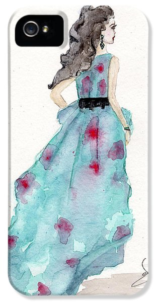 Dress iPhone 5 Cases - Cerulean Blue Fashion Sketch Dress iPhone 5 Case by Janelle Nichol