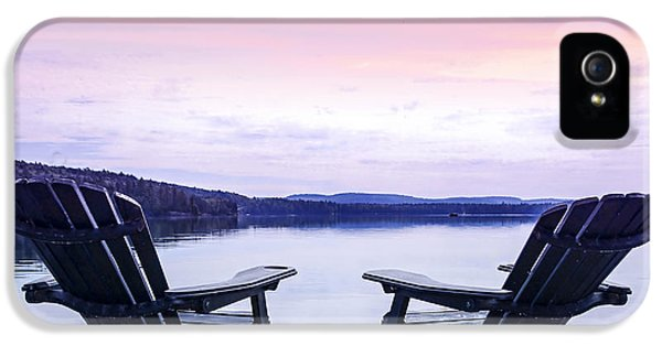 Chair iPhone 5 Cases - Chairs on lake dock iPhone 5 Case by Elena Elisseeva