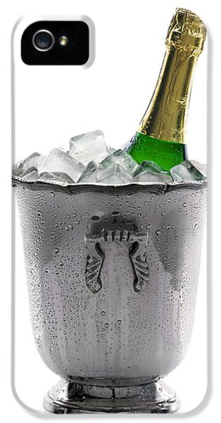 Water Drop iPhone 5 Cases - Champagne bottle on ice iPhone 5 Case by Johan Swanepoel