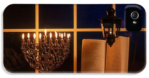 Hanukkah Card iPhone 5 Cases - Chanukah Menorah iPhone 5 Case by Alan and Sandy Carey