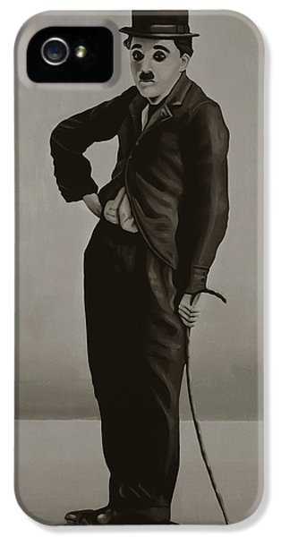 Moviestar iPhone 5 Cases - Charlie Chaplin iPhone 5 Case by Paul  Meijering