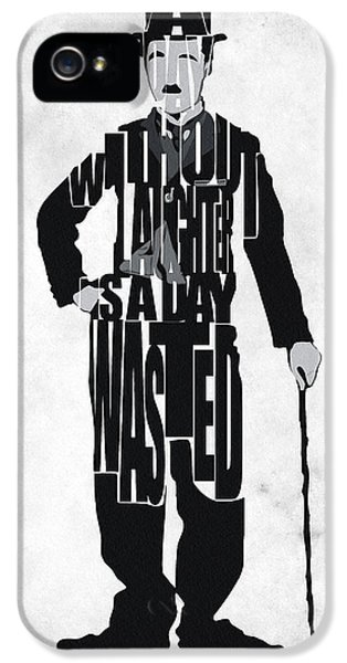 Typography Print iPhone 5 Cases - Charlie Chaplin Typography Poster iPhone 5 Case by Ayse Deniz