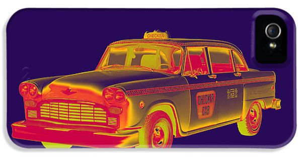 Yellow Taxi iPhone 5 Cases - Checkered Taxi Cab Pop Art iPhone 5 Case by Keith Webber Jr