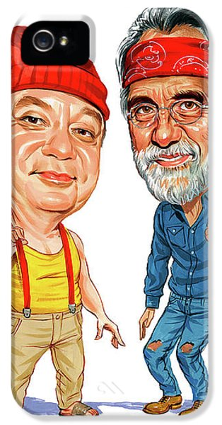 Laughing iPhone 5 Cases - Cheech Marin and Tommy Chong as Cheech and Chong iPhone 5 Case by Art