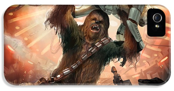 War iPhone 5 Cases - Chewbacca - Star Wars the Card Game iPhone 5 Case by Ryan Barger