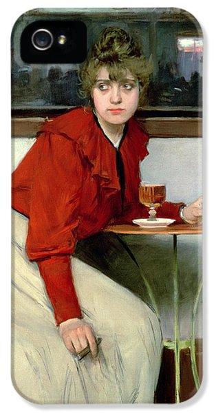 Stool iPhone 5 Cases - Chica in a Bar iPhone 5 Case by Ramon Casas i Carbo