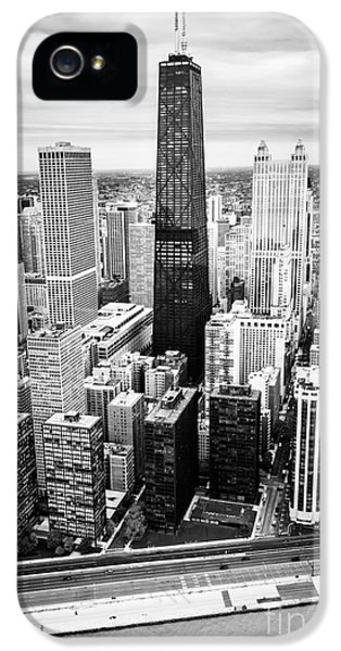 John Hancock Building iPhone 5 Cases - Chicago Aerial with Hancock Building in Black and White iPhone 5 Case by Paul Velgos