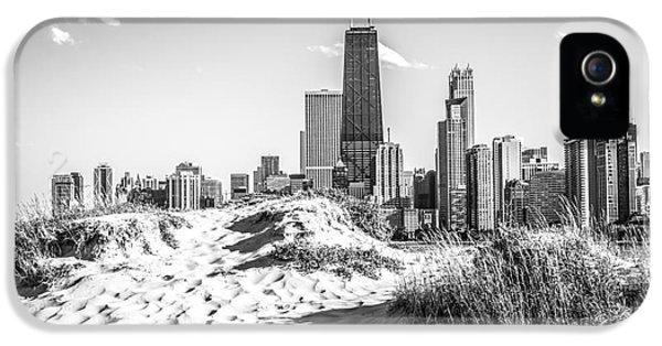 John Hancock Building iPhone 5 Cases - Chicago Beach and Skyline Black and White Photo iPhone 5 Case by Paul Velgos