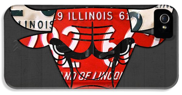 Chicago Bulls iPhone 5 Cases - Chicago Bulls Basketball Team Retro Logo Vintage Recycled Illinois License Plate Art iPhone 5 Case by Design Turnpike