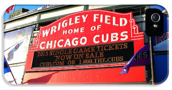 Central Division iPhone 5 Cases - Chicago Cubs Marquee Sign iPhone 5 Case by Thomas Woolworth