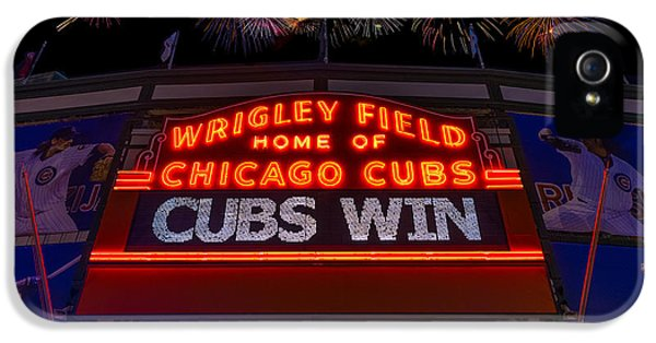 Firework iPhone 5 Cases - Chicago Cubs Win Fireworks Night iPhone 5 Case by Steve Gadomski