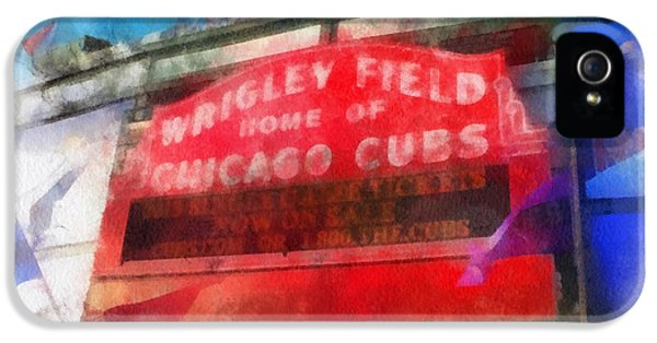 Central Division iPhone 5 Cases - Chicago Cubs Wrigley Field Marquee Photo Art 01 iPhone 5 Case by Thomas Woolworth