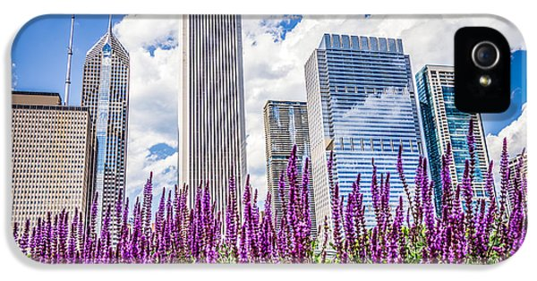 One Prudential Plaza Building iPhone 5 Cases - Chicago Downtown Buildings and Spring Flowers iPhone 5 Case by Paul Velgos