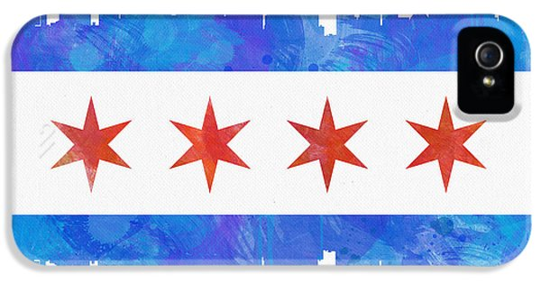 Graffiti iPhone 5 Cases - Chicago Flag Watercolor iPhone 5 Case by Mike Maher