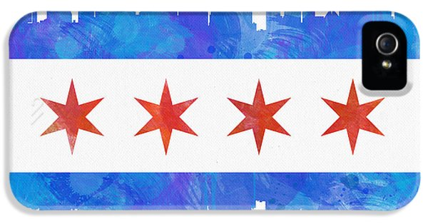Office Decor iPhone 5 Cases - Chicago Flag Watercolor iPhone 5 Case by Mike Maher