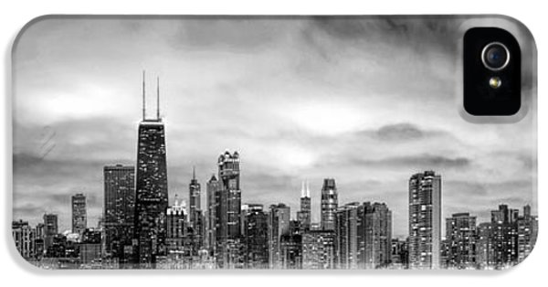 Chicago Skyline iPhone 5 Cases - Chicago Gotham City Skyline Black and White Panorama iPhone 5 Case by Christopher Arndt