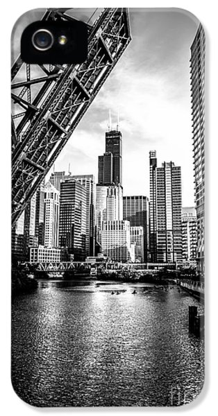 City iPhone 5 Cases - Chicago Kinzie Street Bridge Black and White Picture iPhone 5 Case by Paul Velgos