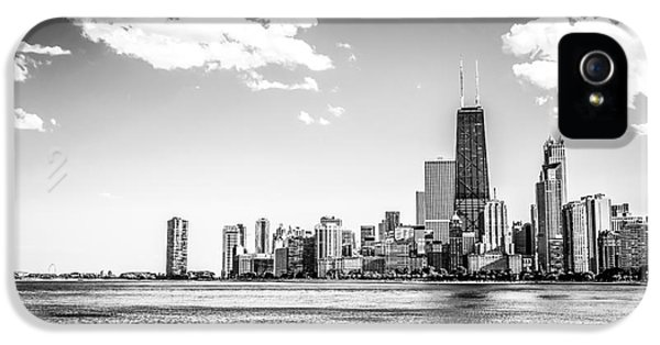 John Hancock Building iPhone 5 Cases - Chicago Lakefront Skyline Black and White Picture iPhone 5 Case by Paul Velgos