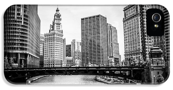 Wrigley iPhone 5 Cases - Chicago River Skyline in Black and White iPhone 5 Case by Paul Velgos